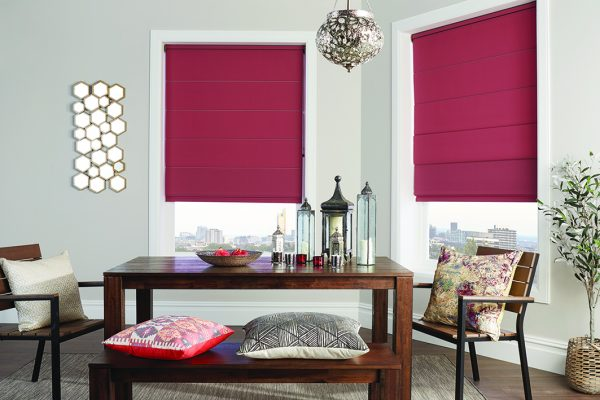 Louvolite Roman blinds pomegranate open