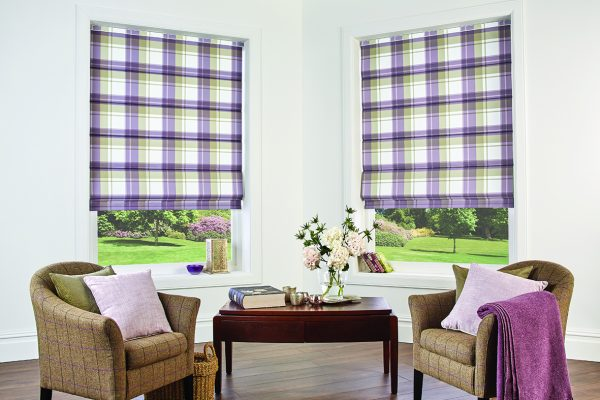Louvolite Roman blinds highland heather