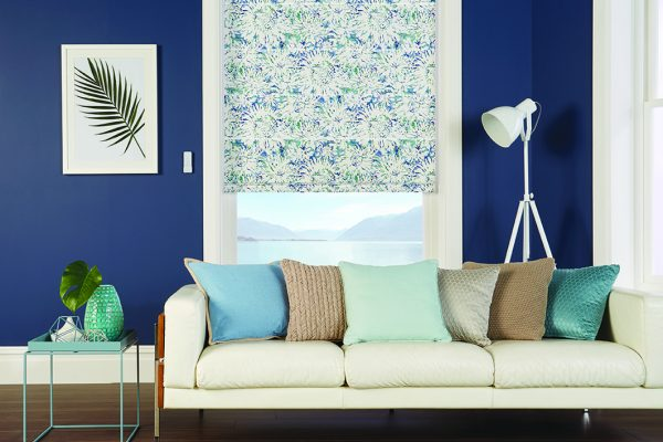 Louvolite Roman blinds blue lagoon