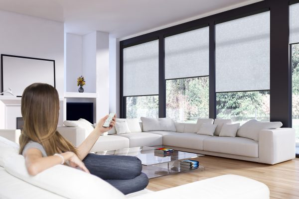 powershade roller blinds living room