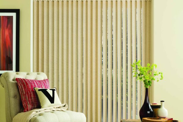 Louvolite vertical blinds parchment
