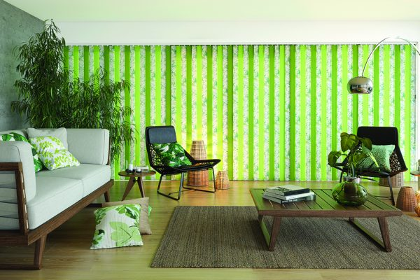 Louvolite vertical blinds tropical apple
