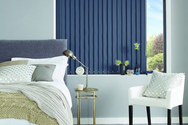 Louvolite vertical blinds Breton blue