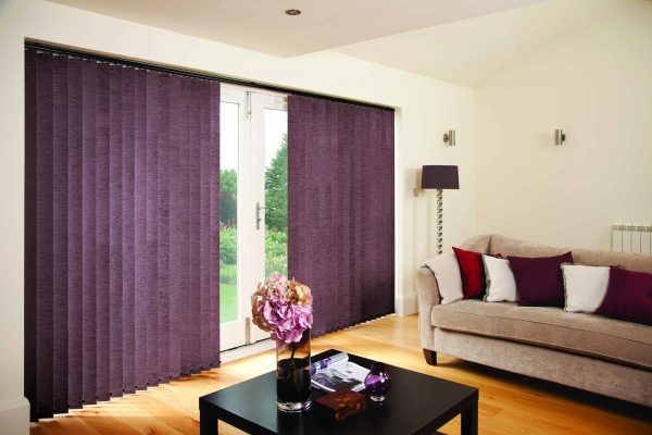 Louvolite vertical blinds mulberry