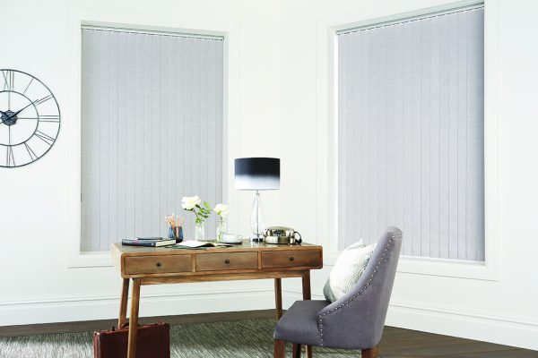 Louvolite vertical blinds silver closed