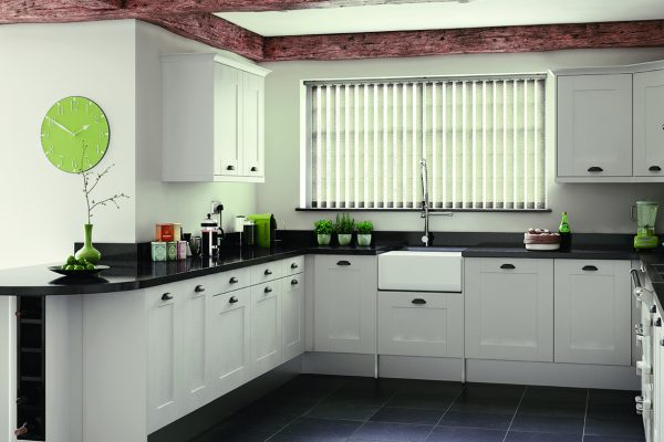 Louvolite linen vertical kitchen blinds
