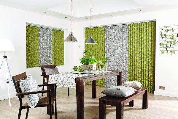 Louvolite vertical blinds chartreuse