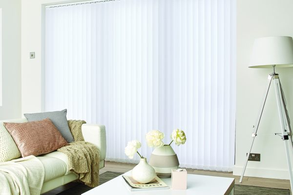 Louvolite white cotton vertical blinds