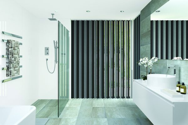 Louvolite topaz charcoal vertical blinds
