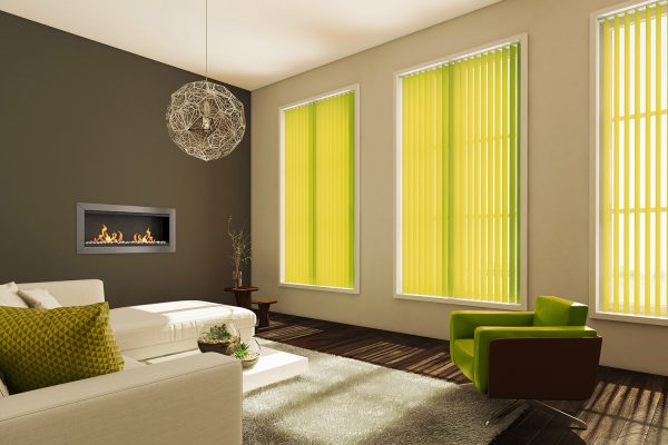 Vertical blinds lime living room