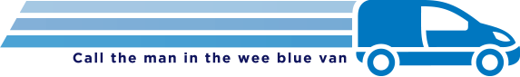 City Blinds wee blue van logo