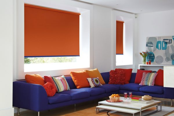roller blinds orange blue