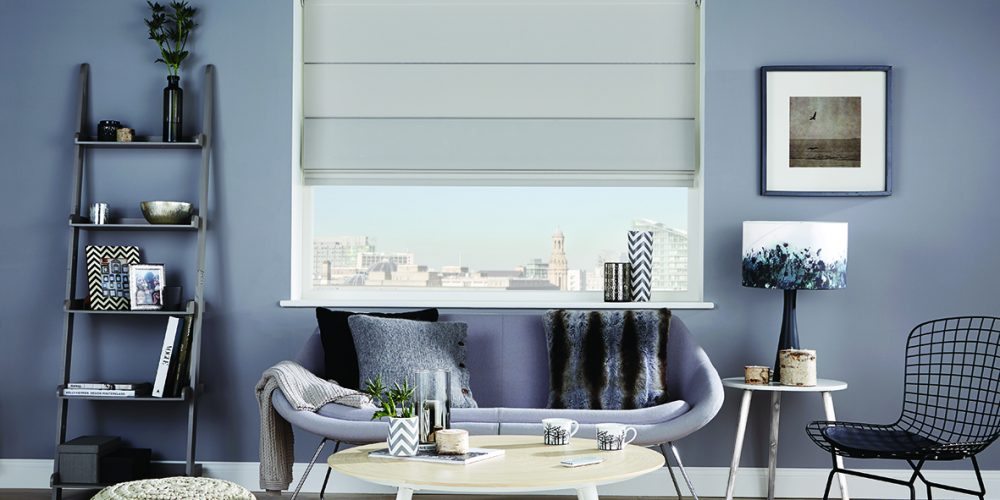 Louvo Lite roman blinds shale grey
