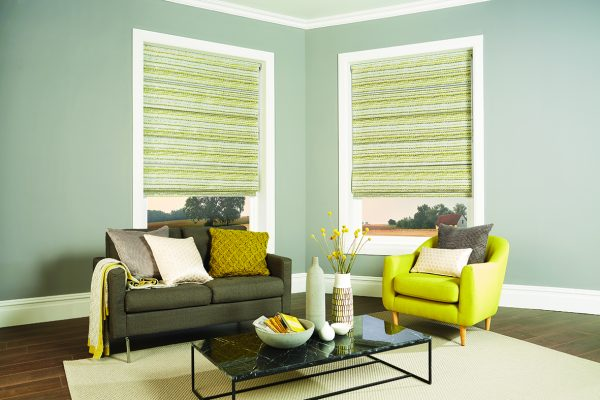 Louvolite Roman blinds chartreuse and tonic